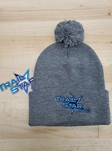 Grey/Blue Beanie with Cuff and POM POM
