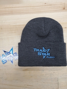 Grey/Blue Beanie with Cuff